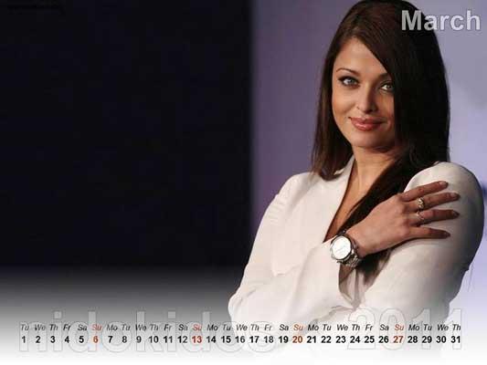 march calendar 2011. Aishwarya Rai Calendar 2011