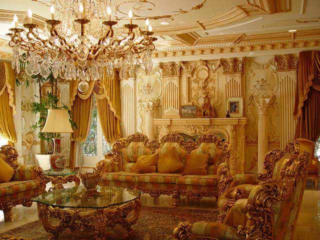 interior ruang tamu rumah shahrukh khan